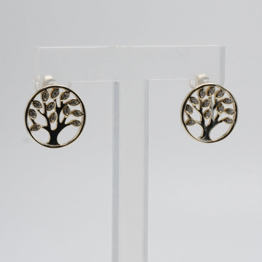 Gold Toned Tree of Life Earrings