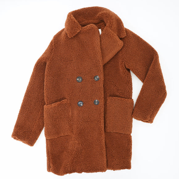 Deep Rust Button Fuzzy Jacket Size 2