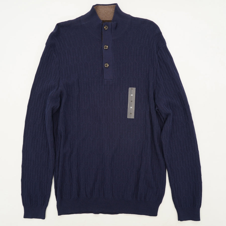 Supima Table Navy 1/4 Button Sweater Size M