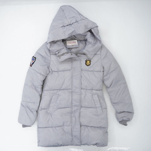 Hooded Emblem Puffer Jacket Size S/M