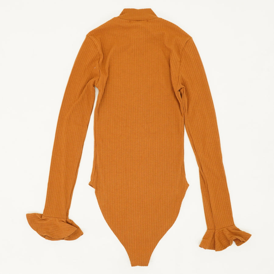 Burnt Orange Mock Neck Bodysuit Size S
