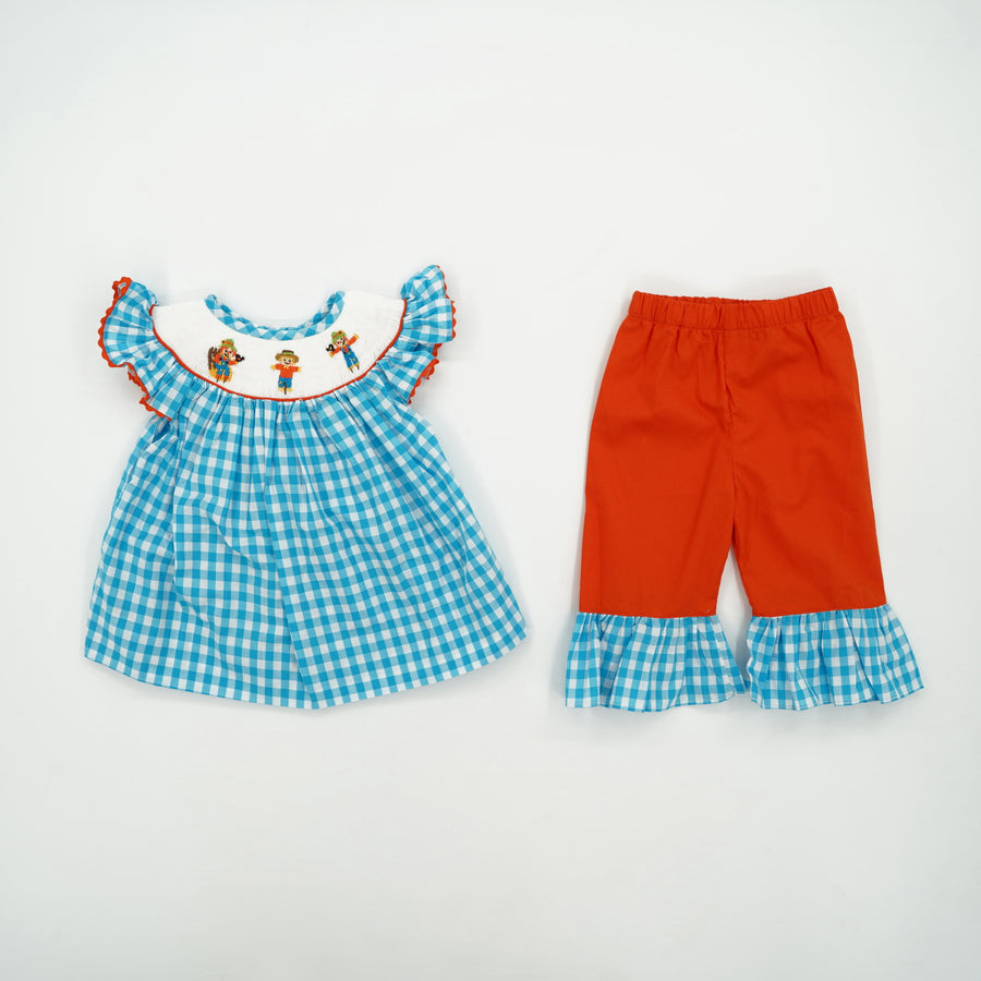 2 Piece Smocked Scarecrow with Ruffled Pants Size 12 Months