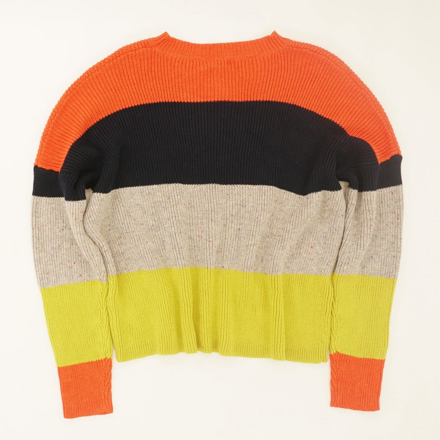 Color Block Crew Neck Sweater - Size L