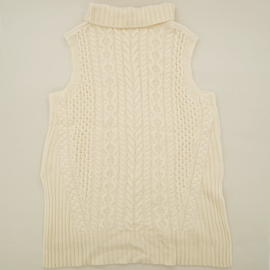 Ecru Knit Sleeveless Sweater Size M