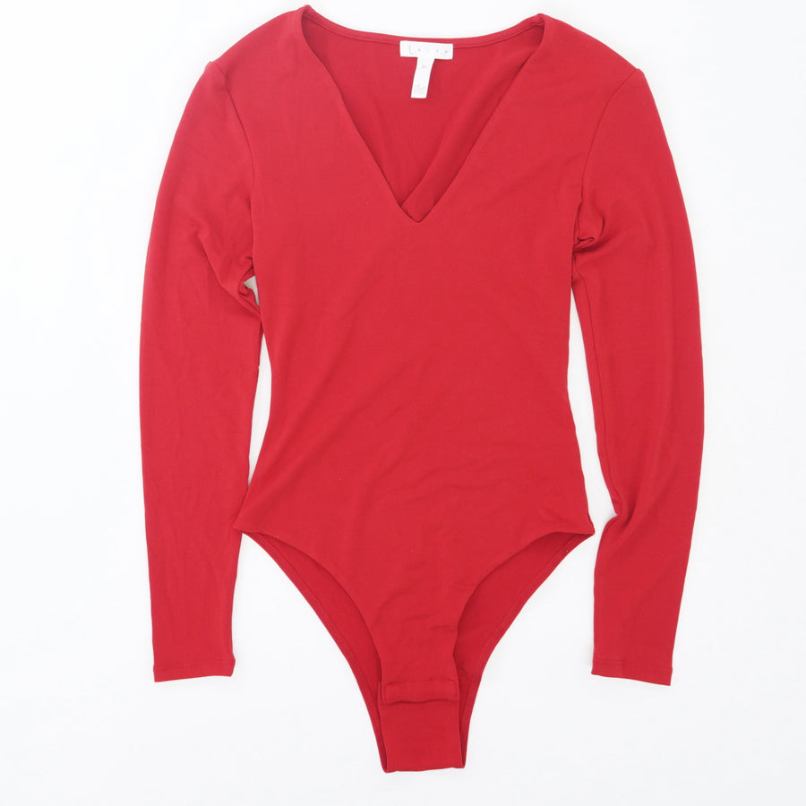 V-Neck Long Sleeve Bodysuit Size XS