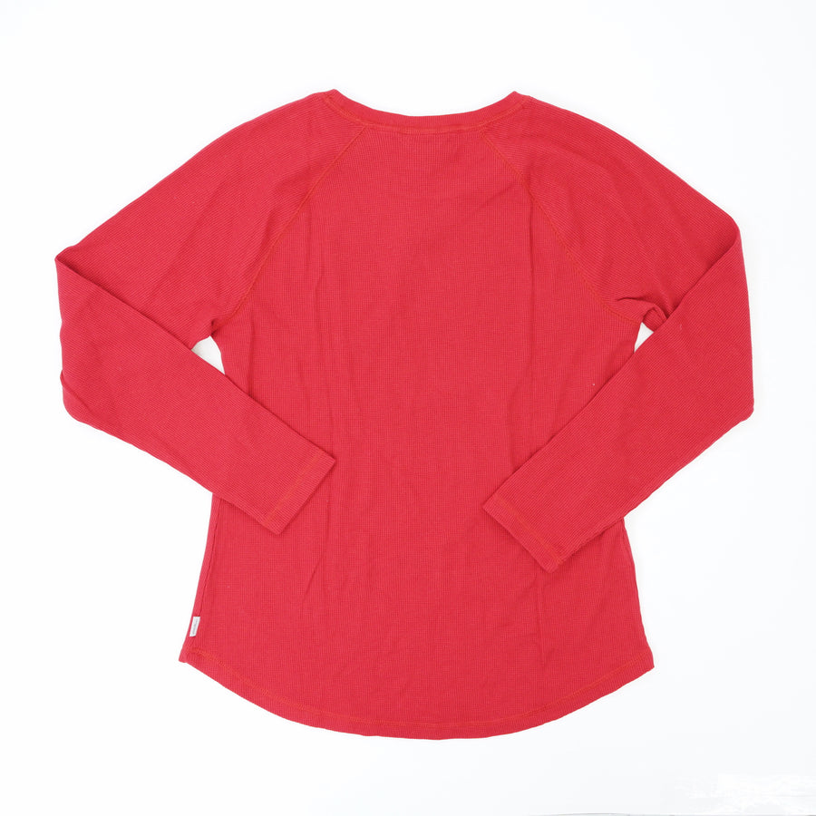 Red Thermal Long Sleeve Crew Blouse Size M