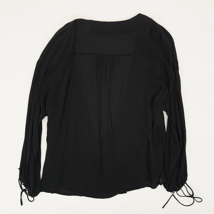 Black Cross Front Long Sleeve Blouse Size 14