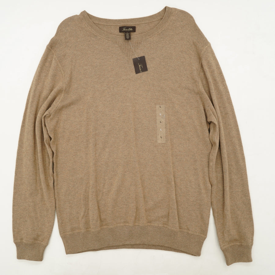 Medium Taupe Heather Crew Neck Sweater Size L