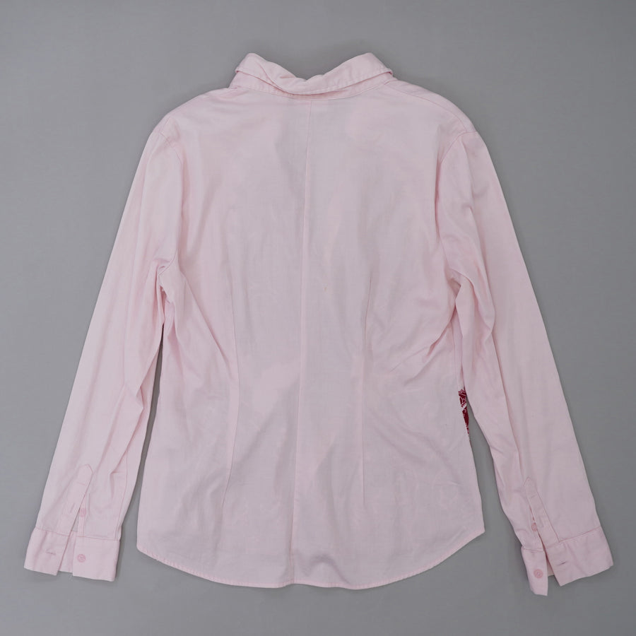 Pink Long Sleeve Button Down Blouse Size L