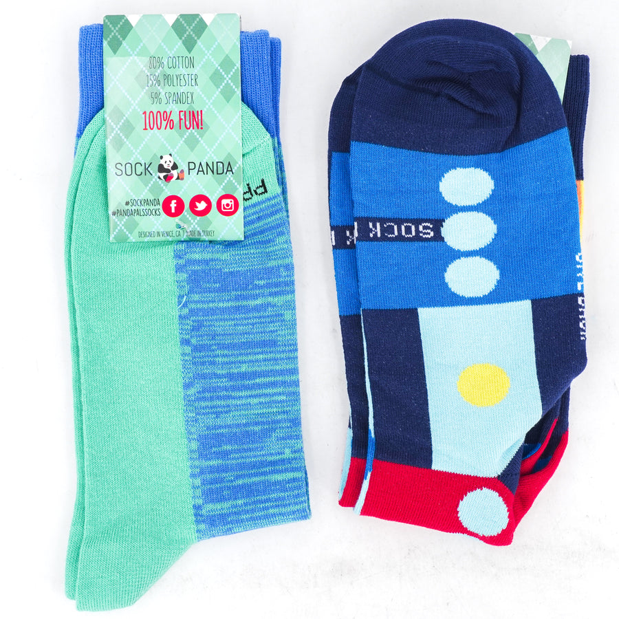 2-Pair Abstract Crew Socks - Size OS