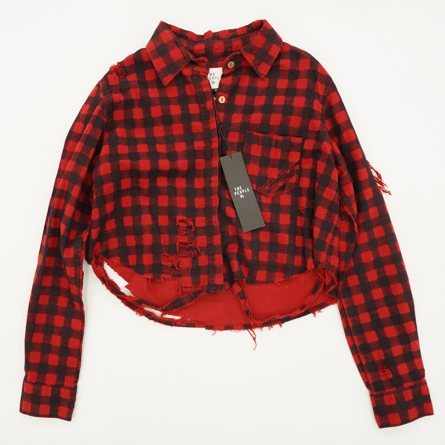 Cropped Distressed Flannel Shirt Size S