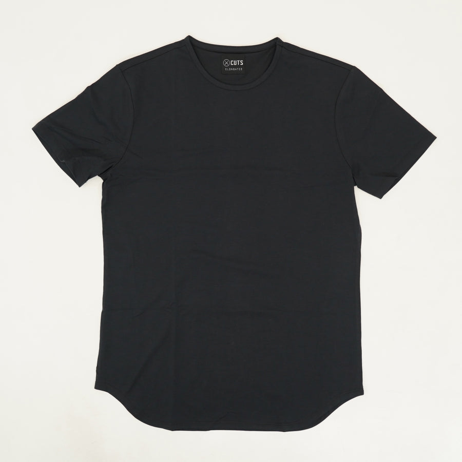 Black Elongated Hem Tee - Size S