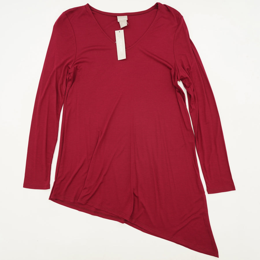 Asymmetrical Tunic Knit Top in Mulberry Red
