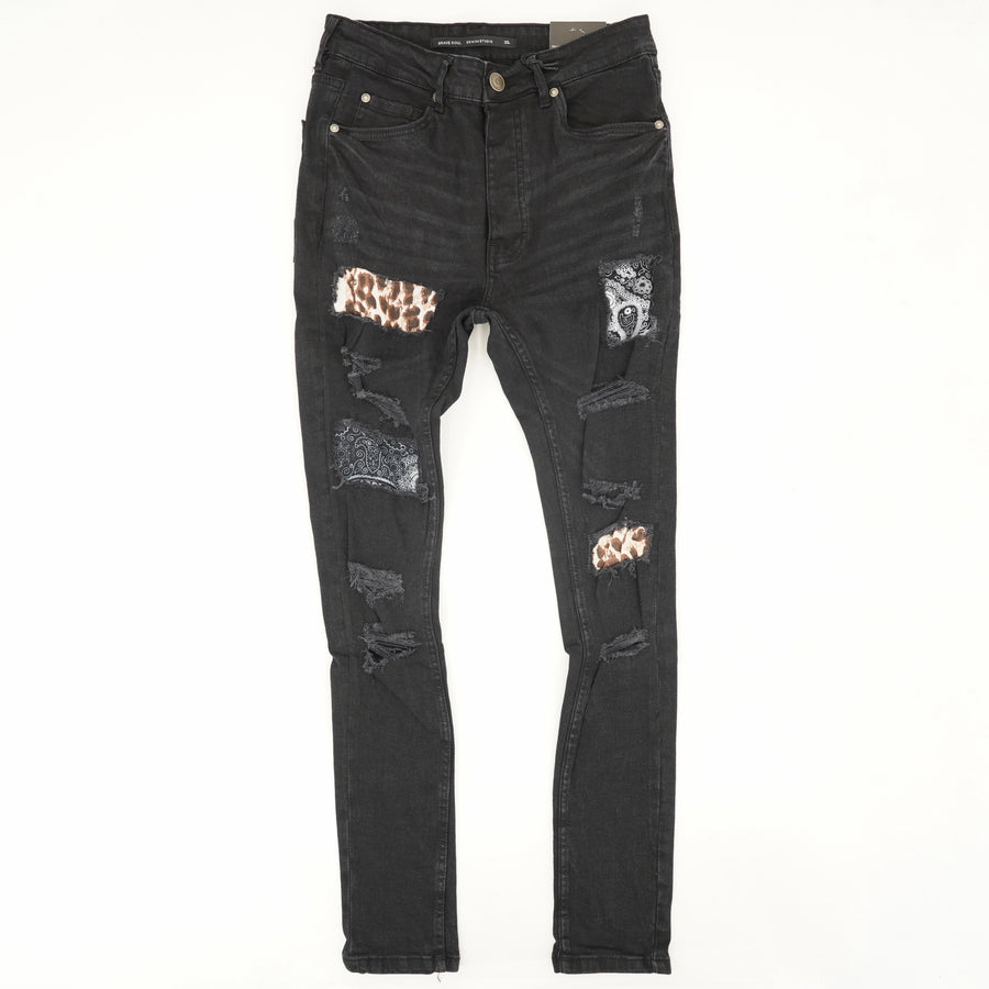 Distressed Jeans with Print Patches - Size 30Wx30L