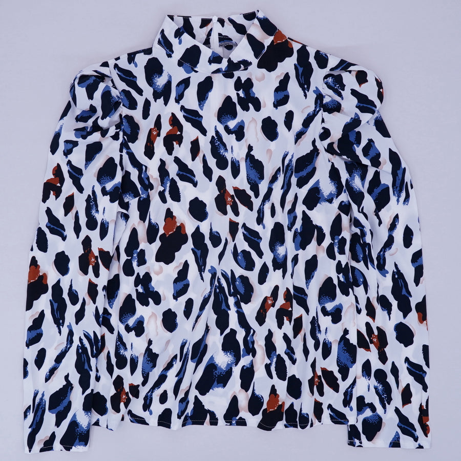 Long Sleeve Puff Shoulder Leopard Print Blouse Size 16