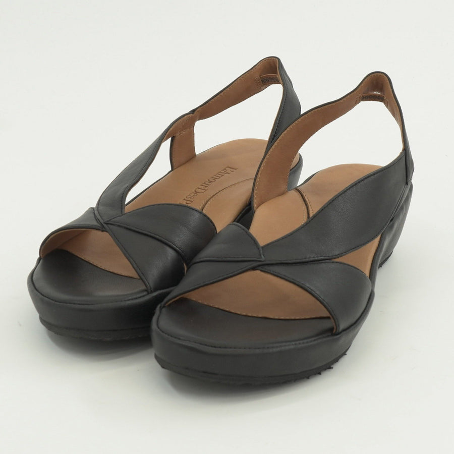 Crotono Black Nappa Wedge Sandals - Size 6 - 11