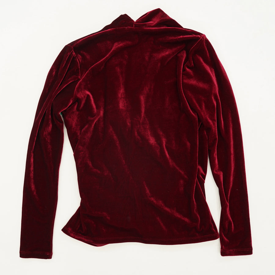 Burgundy Velour Soft Jersey Wrap Top Size 4
