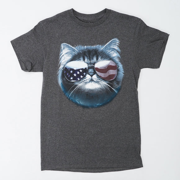Cat With Ameriacn Flag GLasses Tee Size S