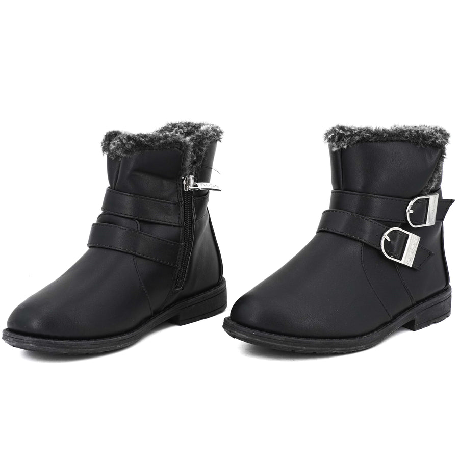 Buckled Faux-Fur Ankle Boots - Size 13T