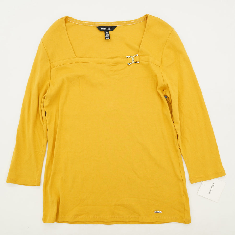 Mustard Square Neck Blouse Size L
