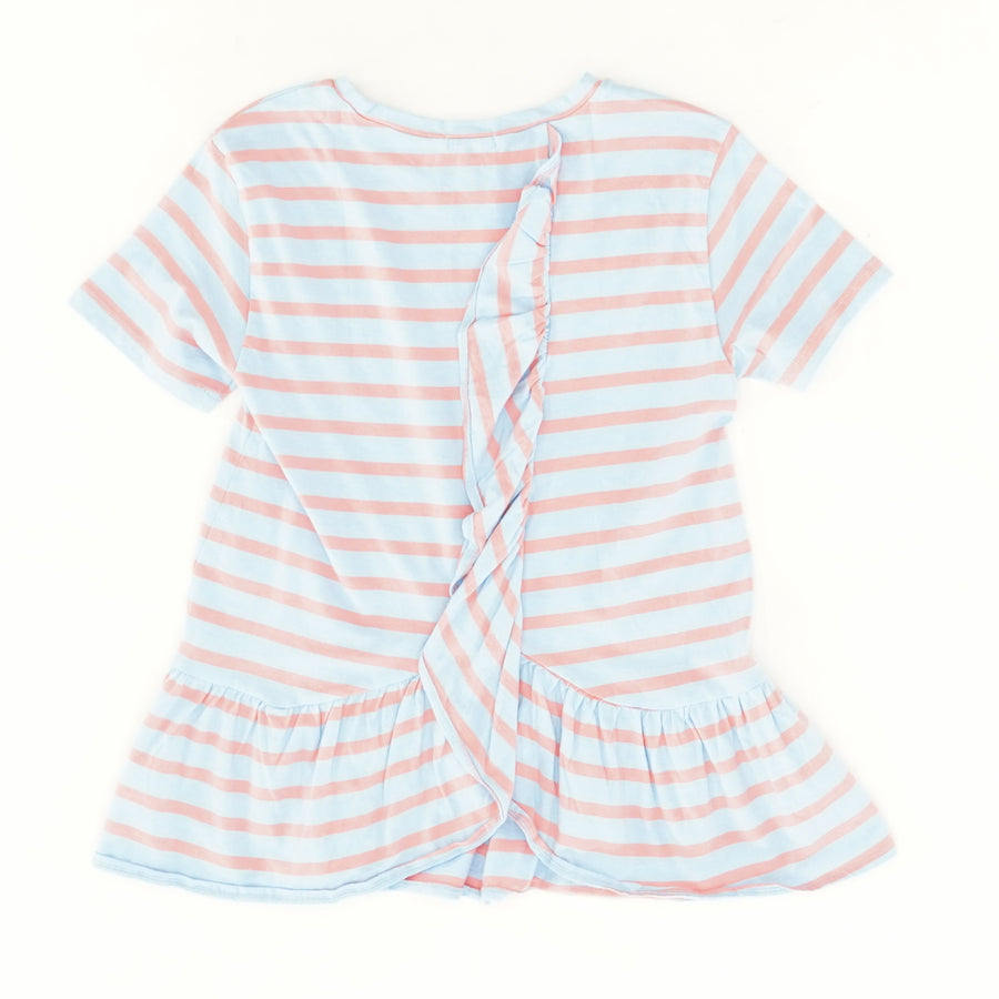 Pink And Blue Striped Ruffle Back T-Shirt Size 14
