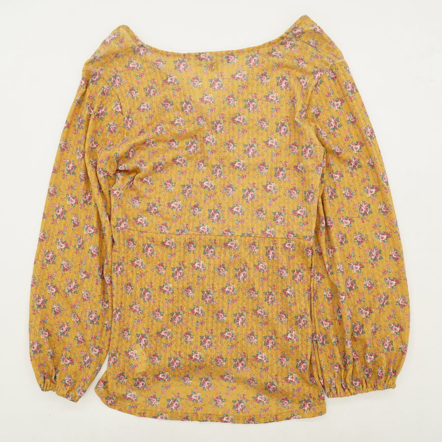Yellow Floral Knot Blouse Size L