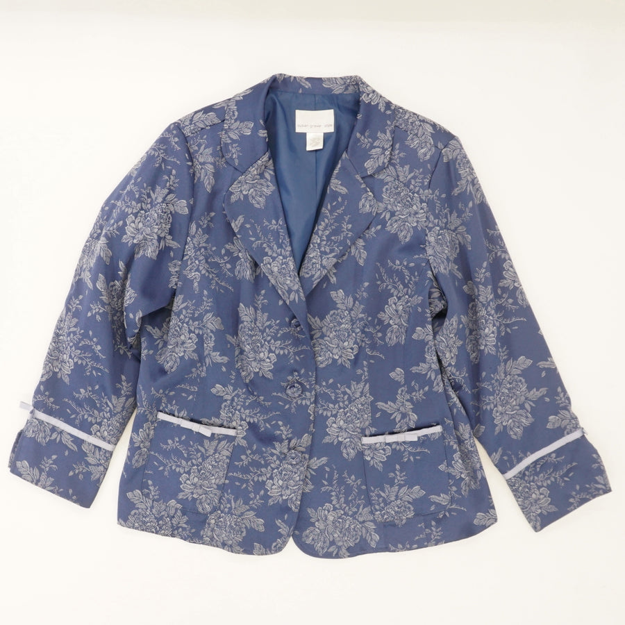 Jacquard Jacket with Ribbon Trim - Size 1X