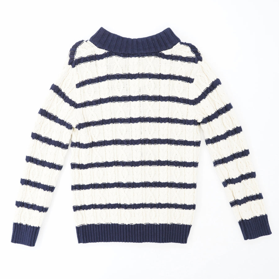 Cable Knit Striped Sweater Size M