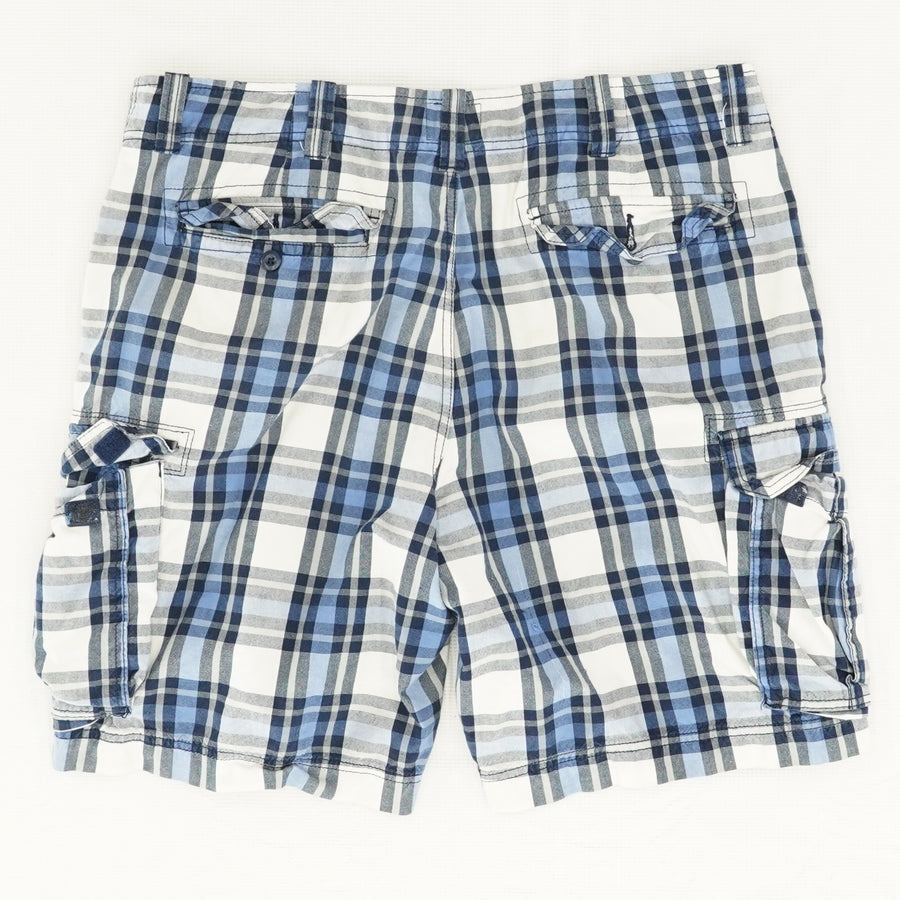 Blue Plaid Cargo Shorts Size 38
