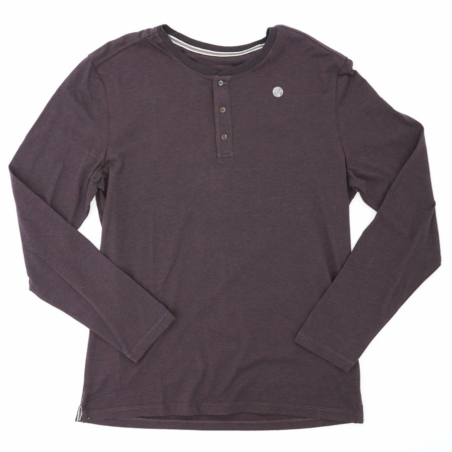 Merlot Long Sleeve Henley Shirt Size L