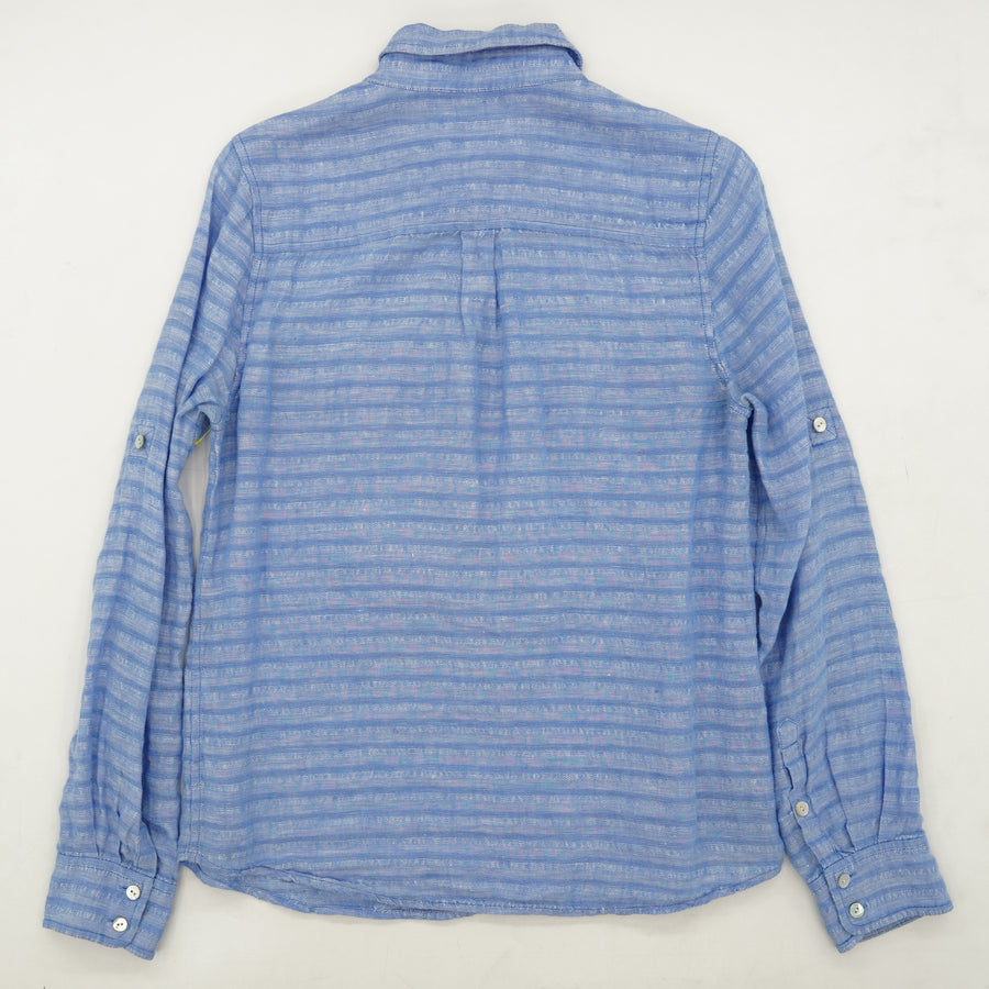 Blue Striped 3/4 Button Down Top Size 4