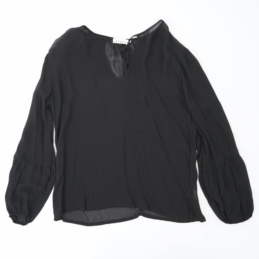 Black V-Neck Long Sleeve Blouse Size XS