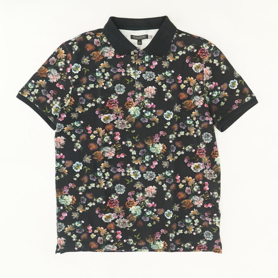 Perfect Pique Floral Polo Size L