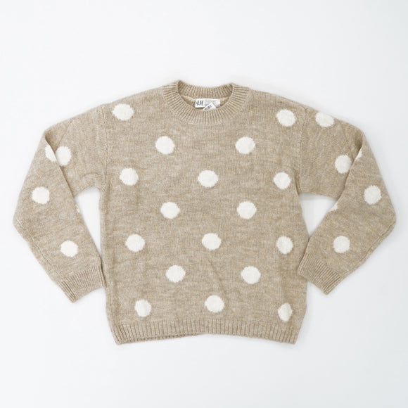 Beige And Creme Polka Dotted Sweater Size 8-10