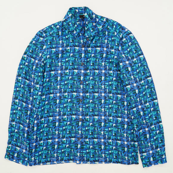 Blue And Green Patterned Silk Button Down Size S