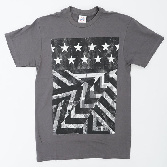 Gray And White American Flag Tee Size S