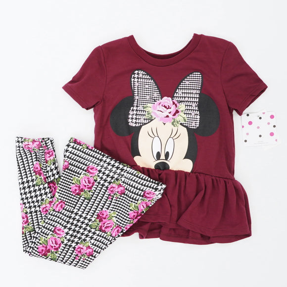 Minnie Mouse Fit and Flare Houndstooth Pant Set Size 3