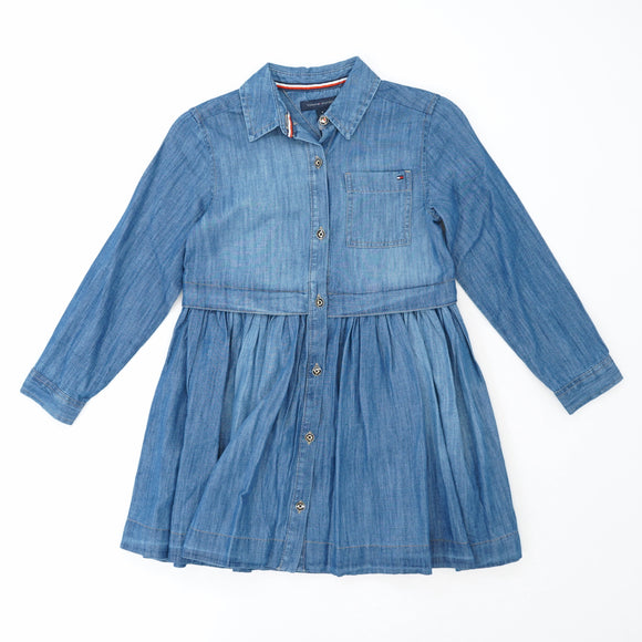 Button Down Pleated Bottom Denim Dress Size 6