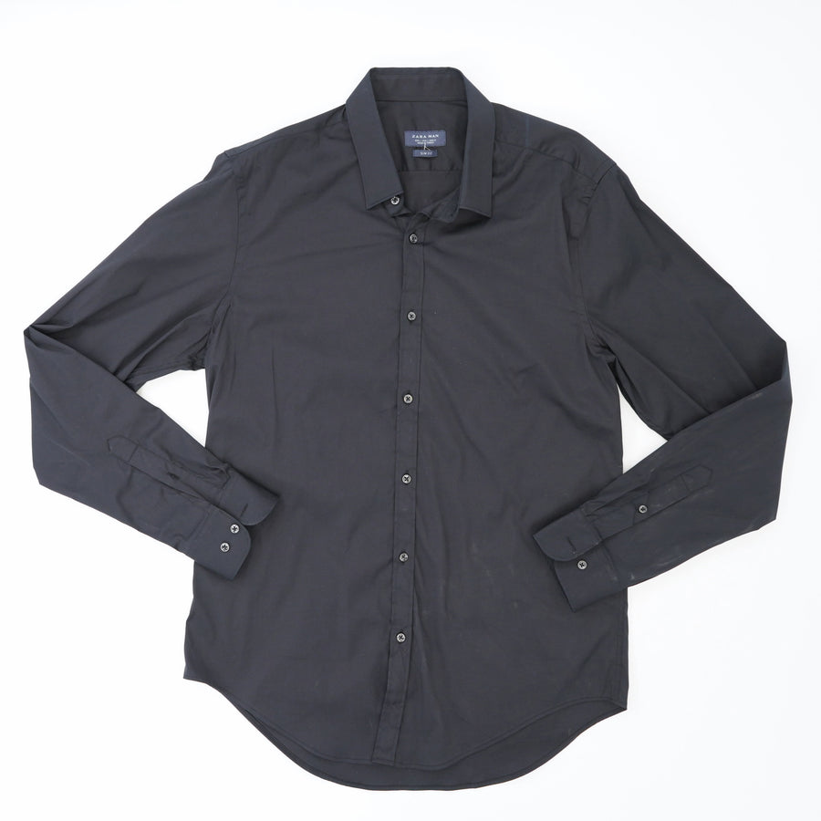 Black Slim Fit Button Down Size L