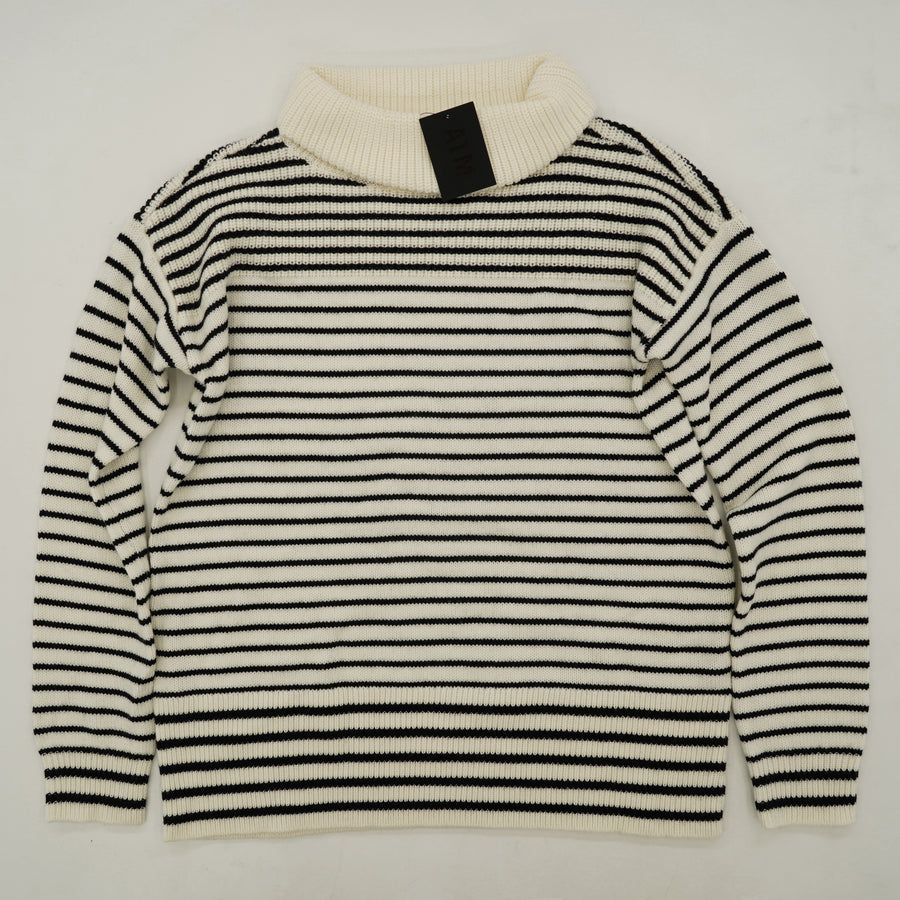 Cowl Neck Black And White Striped Sweater