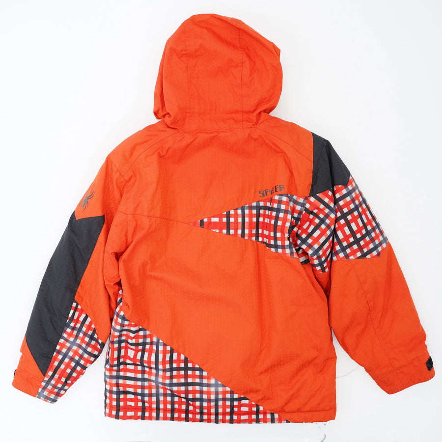Red Plaid Color Block Ski Jacket - Size 12