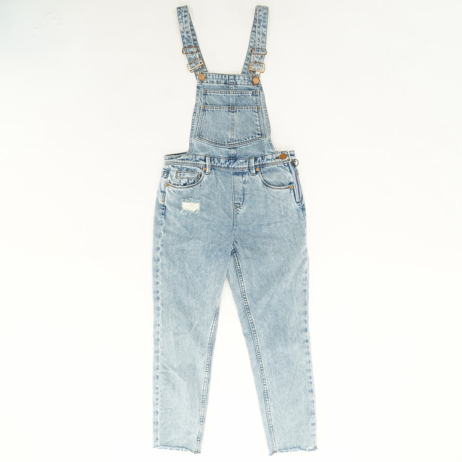 Distressed Cropped Overalls in Acid Trip - Size 26