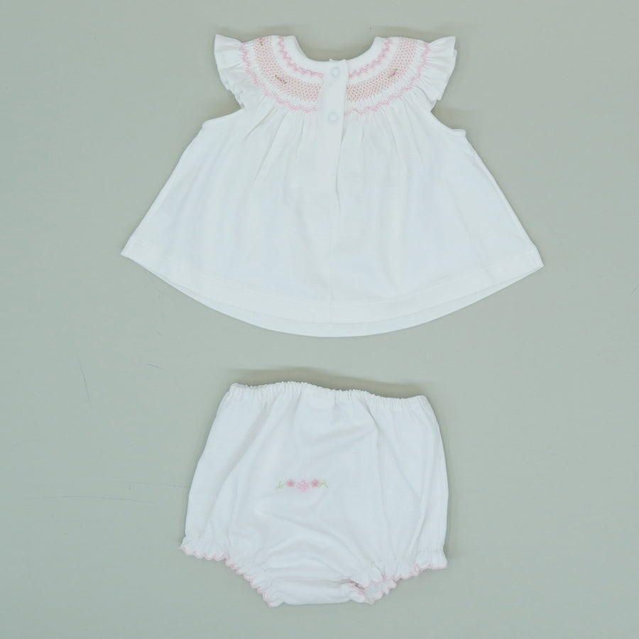 White Embroidered Dress With Bloomers Size 0-3M