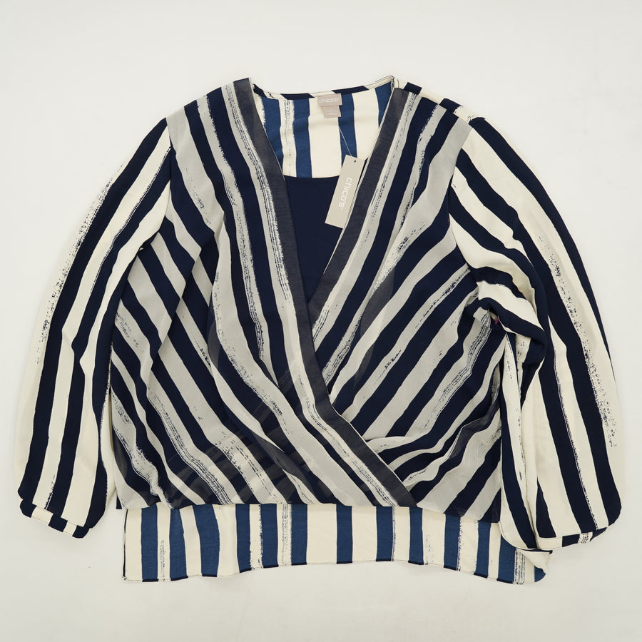 Brushed Stripe Print Surplice Top Size 3