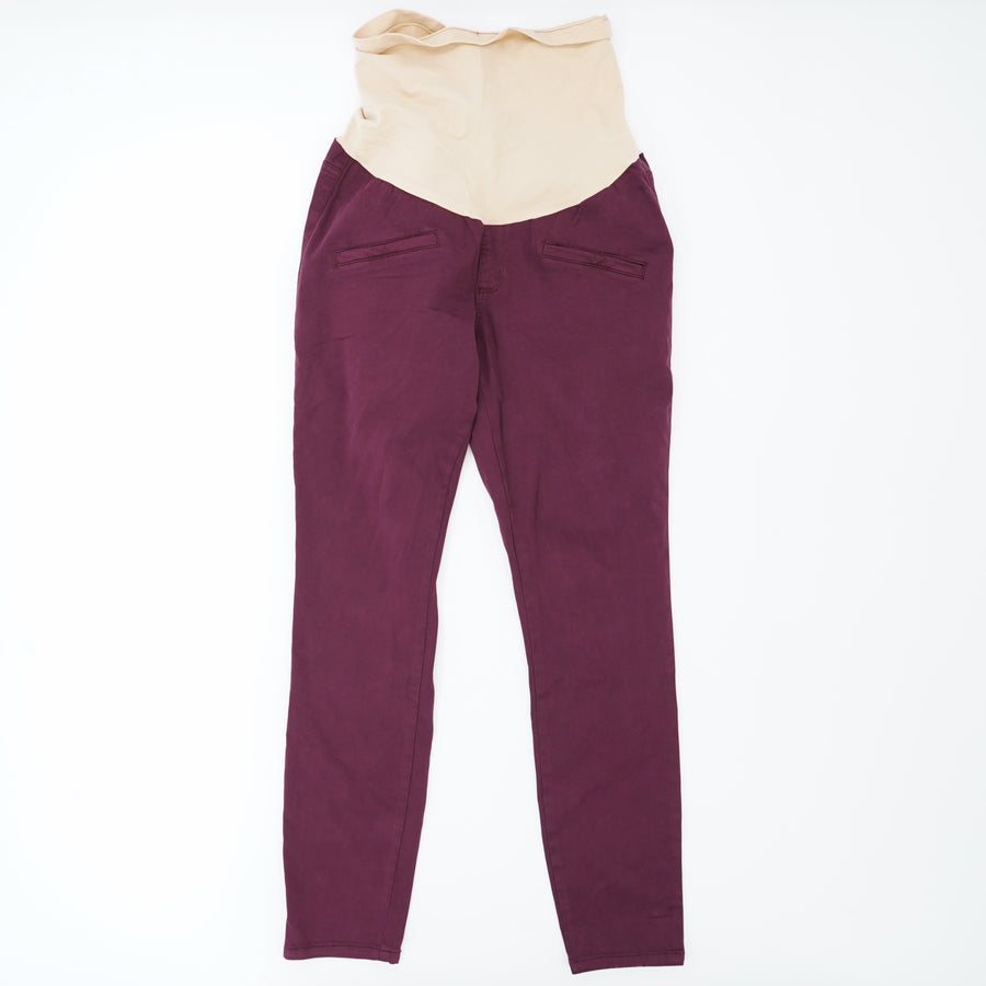 Red Solid Skinny Maternity Pant Size S