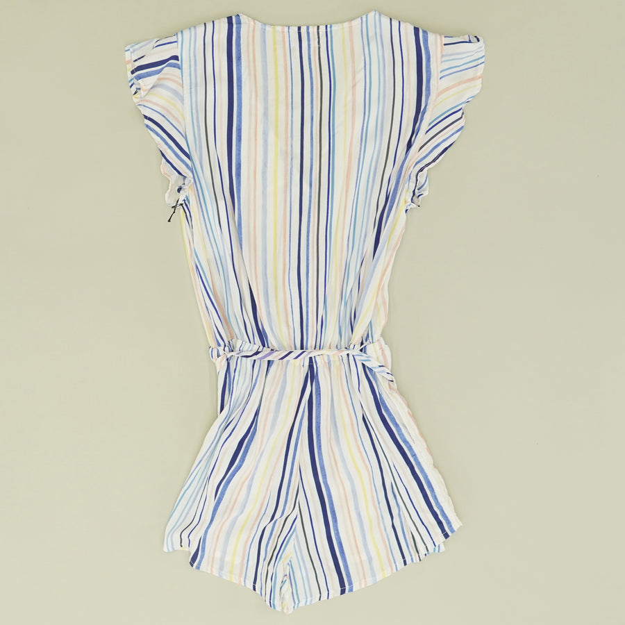 Striped Ruffle Sleeve Romper - Size S