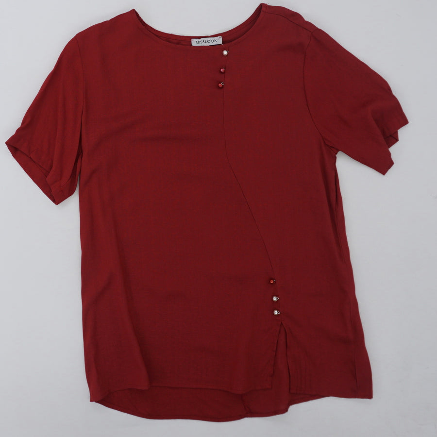 Red Button Detail Blouse Size XL