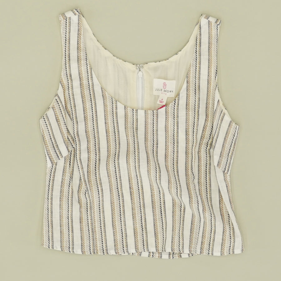 Crop Striped Tank Top - Size 0, 2, 8