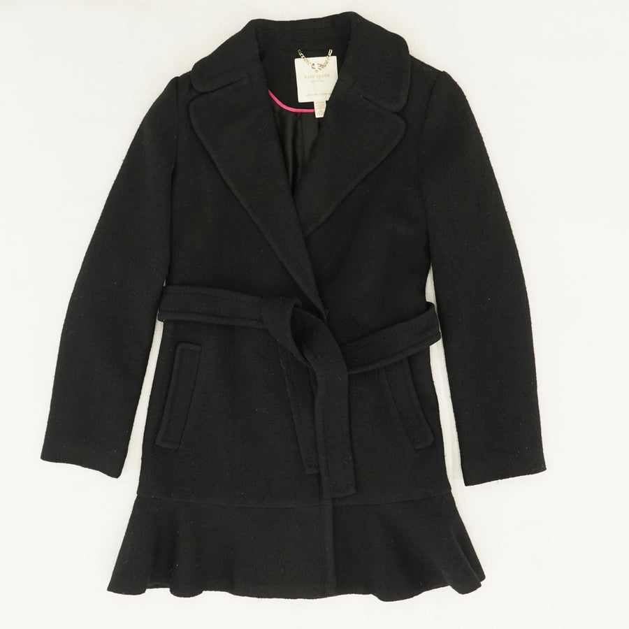 Wool Twill Belted Coat - Size XS