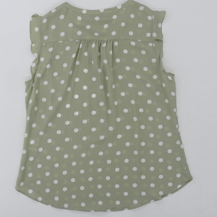 Polka Dot Half-Button Blouse - Size L